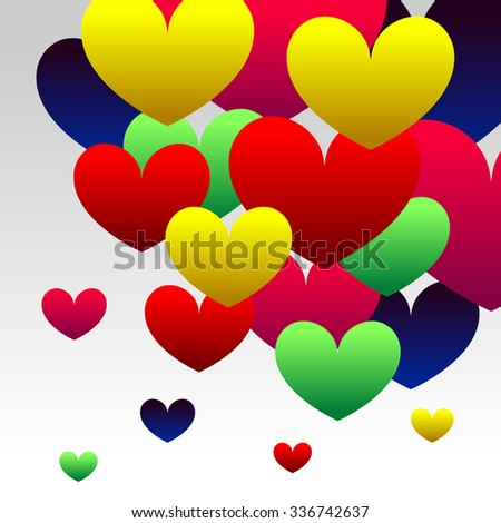 Abstract Background with Colorful Gradient Red, Blue, Green, Pink an Yellow Hearts - stock vector