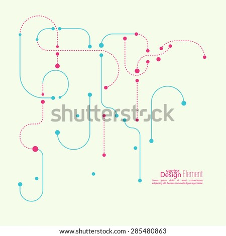 Abstract background with curved lines, dotted lines and dots. flat design. vector. For cover book, brochure, flyer, poster, magazine, CD cover design, website, app mobile, annual report, T-shirt - stock vector
