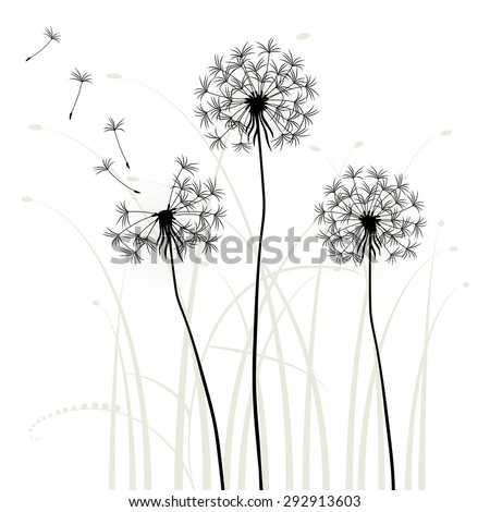 Abstract background with dandelions, vector - stock vector
