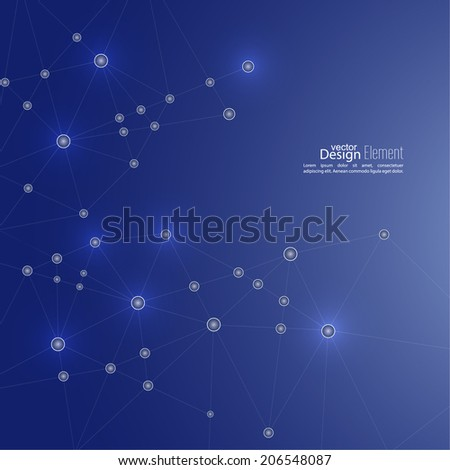 Abstract background with DNA molecule structure. genetic and chemical compounds. creative vector. Space and constellations - stock vector