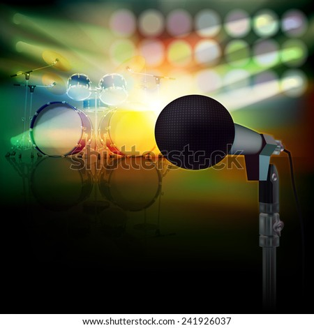 abstract background with drum kit and microphone on music stage - stock vector