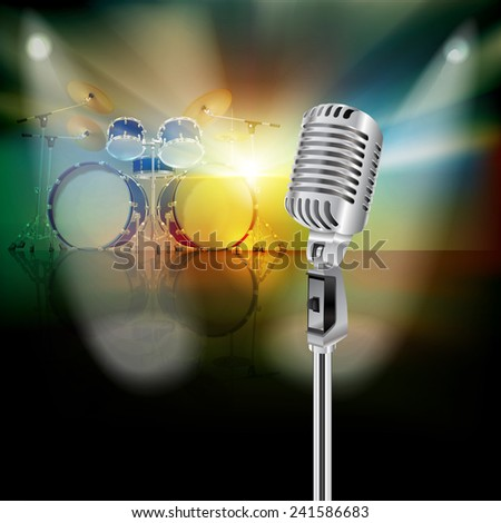 abstract background with drum kit and retro microphone on music stage - stock vector