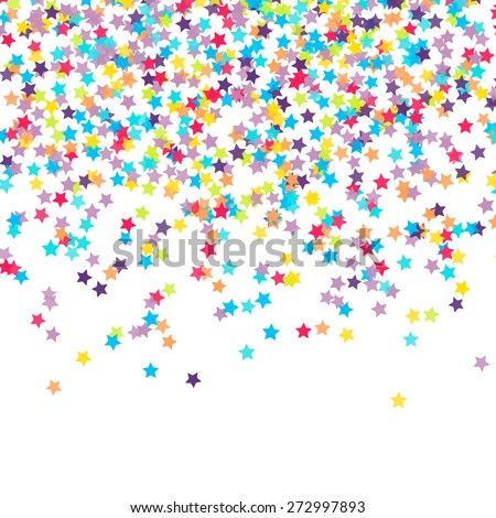 Abstract background with falling star-shaped confetti - stock vector