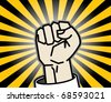 Abstract background with fist, vector illustration - stock vector