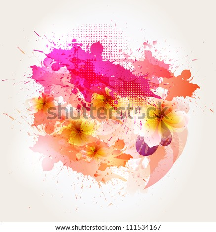abstract background with  flower and pink blots. Vector design - stock vector