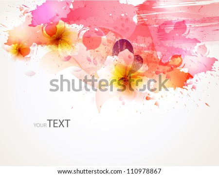 abstract background with flower   blots. floral cards for design - stock vector