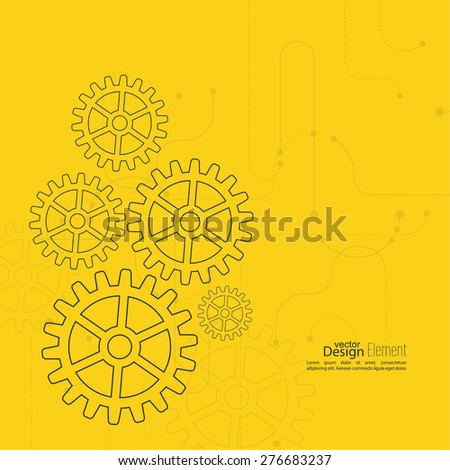 Abstract background with gear wheel, geometric shapes and dotted lines. schematic representation technical data. Concept of motion,  mechanics, connection and operation engineering design work. yellow - stock vector