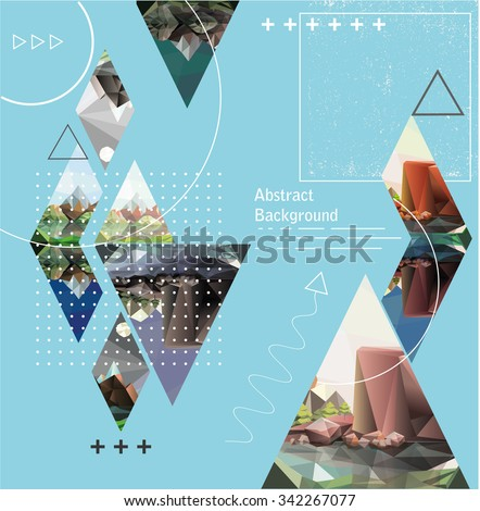 abstract background with geometric elements and landscape. Composition with triangles. Modern banner, message presentations or identity layouts - stock vector