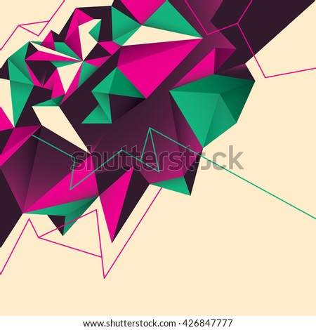 Abstract background with geometric shapes in color. Vector illustration. - stock vector