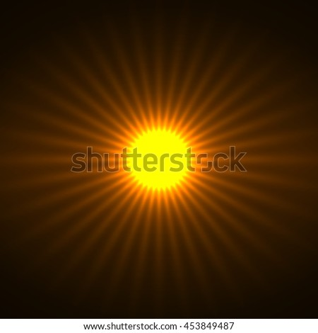 Abstract background with glowing sun rays - stock vector