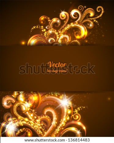 Abstract background with gold  vector design elements. Brochure cover template. - stock vector