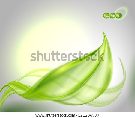 Abstract background with green leaf - stock vector