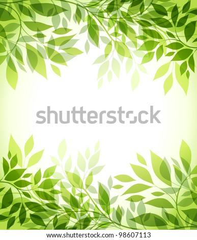 abstract background with green sheet - stock vector