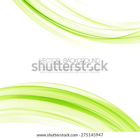 Abstract background with green transparent wavy lines. - stock vector