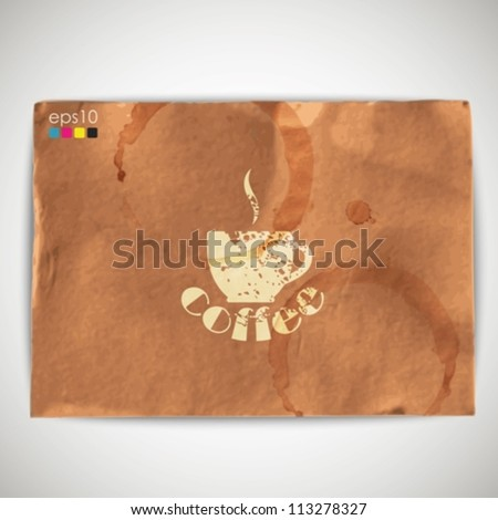 abstract background with grunge cardboard texture and coffee sign - stock vector