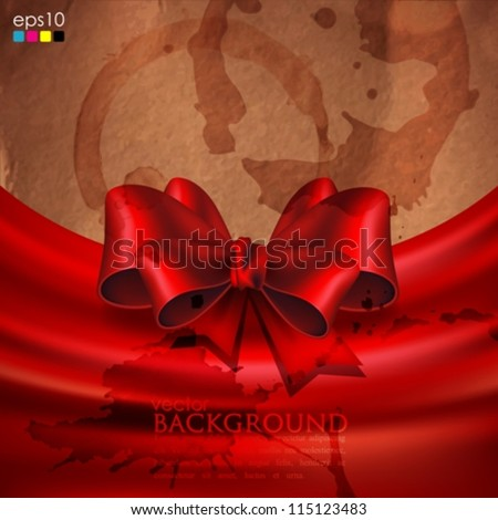 abstract background with grunge cardboard texture and red bow - stock vector