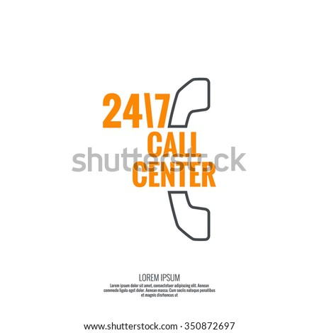 Abstract background with handset. Icon. Call technical support. 24, 7. helpline, support service. Contacts. vector. Flat design. minimal, outline, pictogram  - stock vector