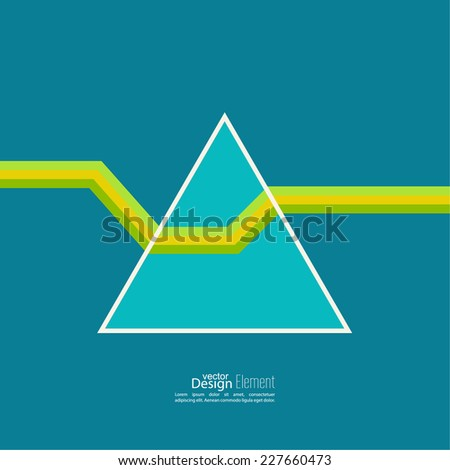 Abstract background with hipster triangles. A ray of light refracted in prism. physical phenomenon. For cover book, brochure, flyer, poster, magazine, cd cover design, T-shirt. blue, green, yellow  - stock vector