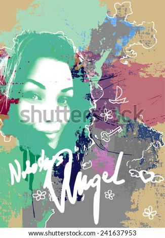 Abstract background with illustration of a pretty girl. - stock vector