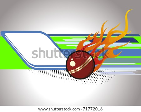 abstract background with isolated fire cricket ball, illustration - stock vector