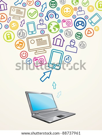 abstract background with laptop - vector illustration - stock vector