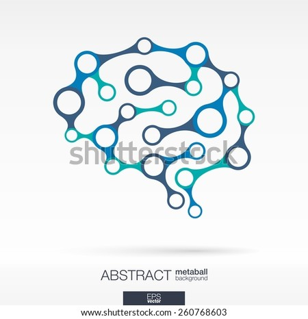 Abstract background with lines and integrated circles. Brain concept for communication, infographic, business, medical, social media, technology, network and web design. Vector illustration. - stock vector