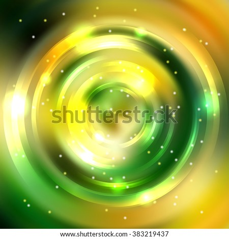 Abstract background with luminous swirling backdrop. Shiny swirl background.  Intersection curves. Green, yellow colors.  - stock vector