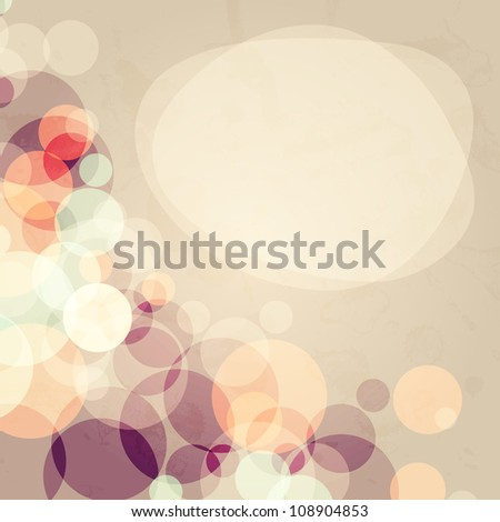 Abstract background with many circles with grunge old effect, vector illustration - stock vector
