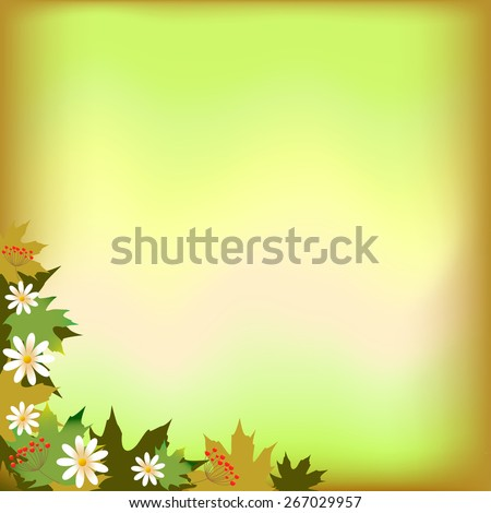 abstract background with maple leaves and daisy - stock vector