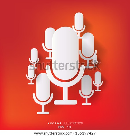 abstract background with microphone web icon, flat design - stock vector