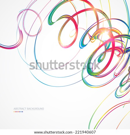 Abstract background with multicolored curved lines on white  - stock vector