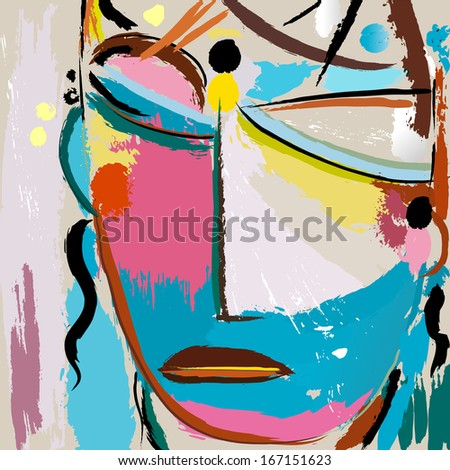 abstract background with paint strokes and splashes, face or mask - stock vector