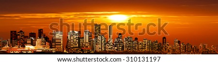 abstract background with panorama of vancouver and red sunset - stock vector