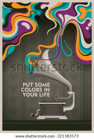 Abstract background with phonograph. Vector illustration. - stock vector