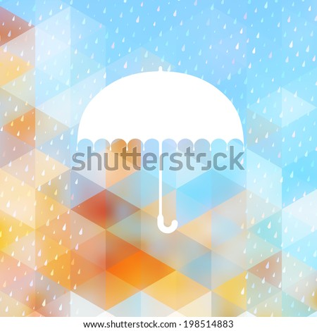 Abstract background with rain pattern and umbrella symbol. And also includes EPS 10 vector - stock vector