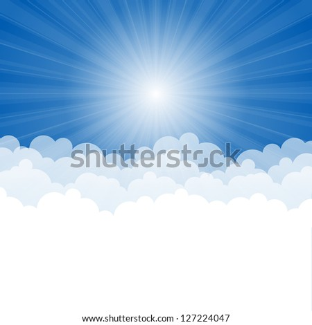Abstract background with Rays and clouds. Vector illustration. - stock vector