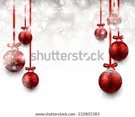 Abstract background with red christmas balls. Vector illustration.  - stock vector