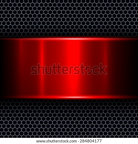 Abstract background with red metal texture banner, vector illustration. - stock vector
