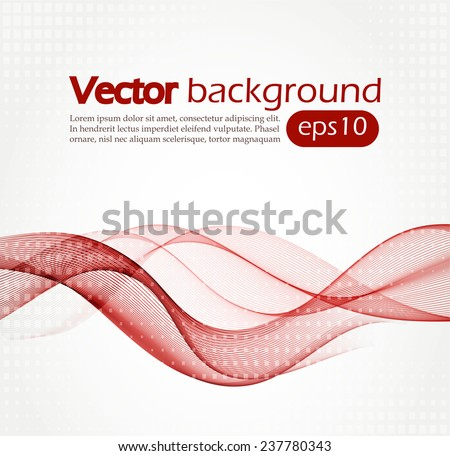 Abstract background with red waves - stock vector