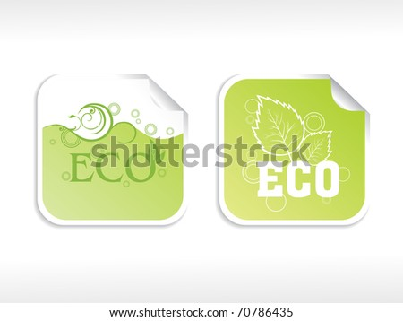 abstract background with set of ecology sticker - stock vector