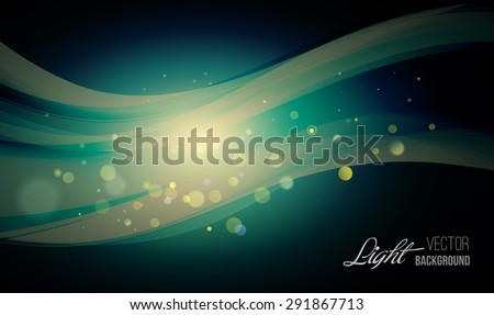 Abstract background with shiny wave and bokeh light. Vector illustration. Glitter abstract - stock vector