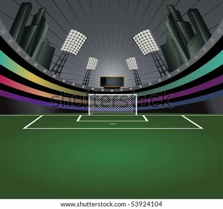 Abstract background with soccer stadium and detailed goal. Vector illustration. - stock vector