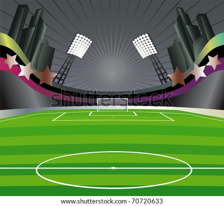 Abstract   background with soccer stadium and field. Vector illustration. - stock vector