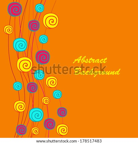 Abstract background with spirals on the orange phone - stock vector