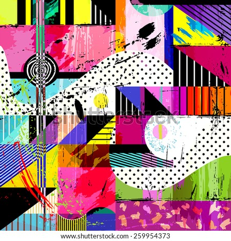 abstract background, with strokes, splashes and geometric lines - stock vector