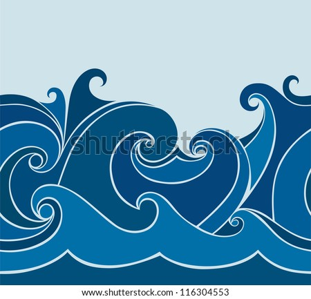 abstract background with stylized wave - stock vector