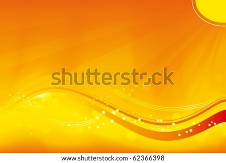Abstract background with sun rays, wavy pattern and grunge elements in saturated orange, yellow and red. Great for autumn themes. No transparencies. - stock vector