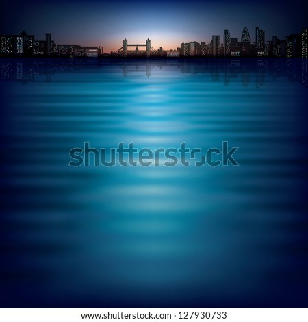 abstract background with sunset and silhouette of London - stock vector