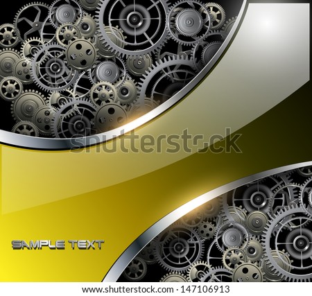 Abstract background with technology metal gears and cogwheels, vector. - stock vector