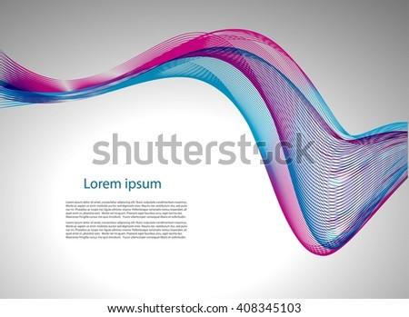 Abstract background with text and smooth lines - stock vector